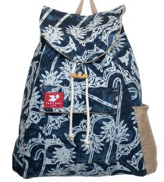 Indonesia Backpack from Taaluma Totes. The fabric is from Indonesia. The bag is made by disabled veterans in VA. Once sold, the tote funds a microloan for someone in Indonesia. They pay it back when they can. When they do, Taaluma Totes uses that money to buy more fabric from that country. Different Countries. Different Stories.