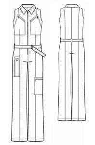 """Free pattern for one-piece sleeveless coveralls. Great for a Kaylee cosplay, or a Steampunk or Dieselpunk """"mechanic."""""""