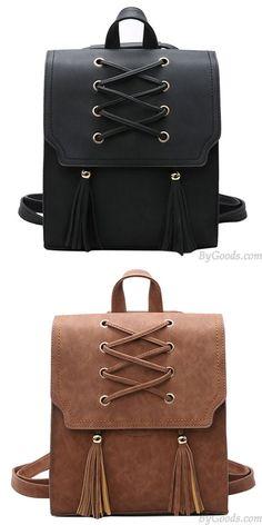 8c9fe948f37c9 Rétro bandage filles glands flap carré marron tissage loisirs voyage sac à  dos  bag