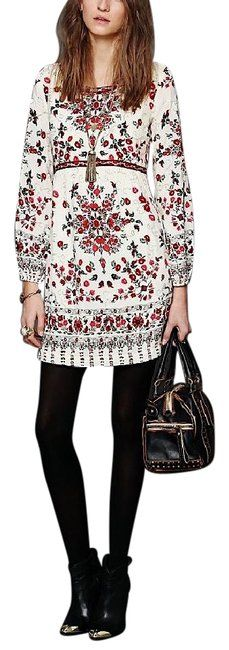 Free People Ivory Floral Red Keyhole Back Printed Fit And Flare Mini Dress