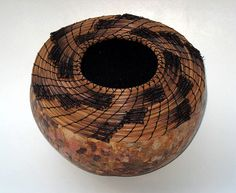 Lynn Hoyt | 'Cyclone'  Coiled long leaf pine needles, waxed linen, dyes, gourd
