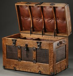 Camel Back Steamer Trunk Antique Embossed Tin Panel with Leather Interior by Chuck Zeller.