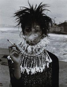 black and white hair cigarette fashion girl