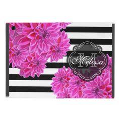 Flowers Monogram Black White Stripes Pattern Cover For iPad Mini