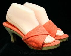 Size 8 Orange Lolita Sandals - 1970s Shoes - Terrycloth 70s Summer Sandal - Cute Casual Heels - Slides - Open Toes - 3 Inch Heel - 13357