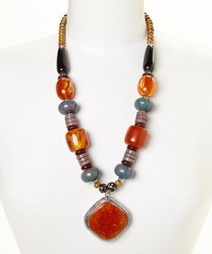 Another great find on #zulily! Turquoise & Amber Bead Pendant Necklace by Fantasy World Jewelry #zulilyfinds