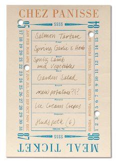 chez panisse menus | meal ticket design