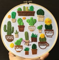 Embroider cactus and nopales step by step - Learn to embroider by hand step by step. Embroidered Cactus, Cactus Embroidery, Hand Embroidery Projects, Hand Embroidery Videos, Embroidery Stitches Tutorial, Embroidery Flowers Pattern, Creative Embroidery, Simple Embroidery, Learn Embroidery