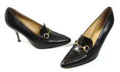 Gucci Dark Brown Leather Pointy Toe Horsebit Pumps Size 8.5 | eBay