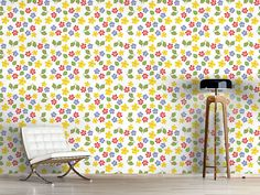 Design #Tapete Meine Landhaus Blumen Retro, Bunt, Cottage, Curtains, Mystic, Journey, Design, Home Decor, Self Adhesive Wallpaper