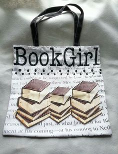 """Perfect gift for the teacher, librarian, author, or just all-around book-lover in your life :)   So many uses for this bag!  - 2 sided  - cotton/polyester blended canvas fabric tote bag. -  16""""h x 16""""w."""