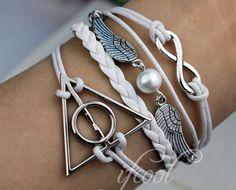 Infinity, Harry Potter Snitch & Deathly Hallows Charm Bracelet--Friendship Gift-Personalized Bracelet