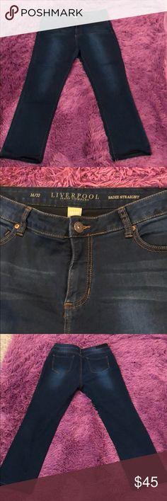 Liverpool Sadie Straight Jeans Dark Wash Liverpool Sadie Straight Jeans Dark Wash. Super Comfortable. Excellent condition. Size 14; Inseam 32. Liverpool Jeans Company Jeans Straight Leg