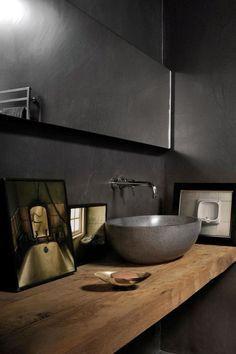 Comptoir en bois + évier en béton + robinetterie au mur --JP