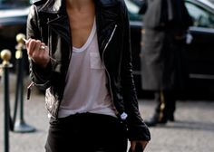 white tee with pocket black skinny's and black leather jacket. oh yea!