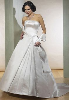 A-line Strapless Chapel Train Satin Wedding Dresses