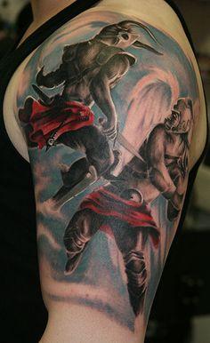 Angel and devil tattoo design