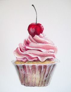Pink sweet Cupcake, stillife food painting with acrylics.