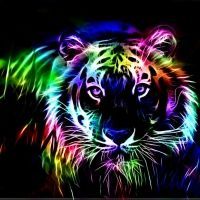Colorful fractal tiger
