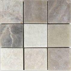 """stone mosaic tile - Mixed Quartz 4"""" x 4"""" Stone Mosaic Tile, by CNK Tile"""