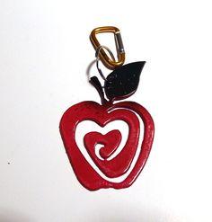 Apple Bag charm,carabiner clip,metal apple,great teachers gift,zipper pull,back…