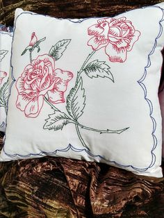 Hand Embroidered Pillow - Red Roses