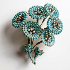 Maison Gripoix (circa 2000), France Floral brooch. Simulated turquoise stones, simulated pearls, gold plated.