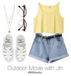 """Outdoor Movie with Jin"" by btsoutfits ❤ liked on Polyvore featuring Dr. Martens, Monki, Dorothy Perkins and Ray-Ban"