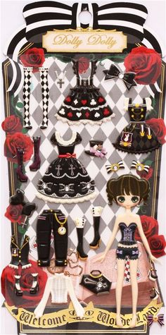 gothic emo punk girl dress up doll puffy sponge stickers 2