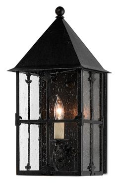 Currey & Company Old World One Light Outdoor Wall Sconce in Black - CURRENTLY ON BACKORDER