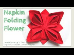 Christmas Table Setting - How to Fold a Rose. Flower - Napkin Folding, Restaurant Table Setting, My