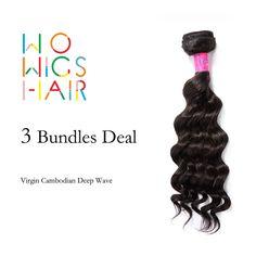 101.80$  Buy here  - WoWigs Hair Cambodian Virgin Hair Deep Wave 3 Bundles Deal Natural Color 1B