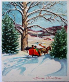 1940s-Picturesque-Sleigh-Ride-thru-the-Woods-into-Town-Vintage-Christmas-Card