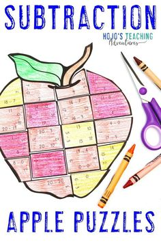 These SUBTRACTION Apple Math Activities for 1st, 2nd, or 3rd grade are great for centers, stations, early or fast finishers, review, test prep, back to school, a Johnny Appleseed unit, or anytime during the fall months. Click through now to learn more, grab a FREE printable, have some fun, work on your fine motor cutting skills, and more. #HoJoTeaches #AppleMathCenters #SubtractionPuzzle