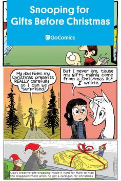 Check out the funniest comics about kids trying to figure out what Santa got them for Christmas (without their parents finding out, of course). Creative Gift Wrapping, Creative Gifts, Christmas Comics, Before Christmas, Funny Comics, My Dad, Christmas Presents, Humor, Holiday