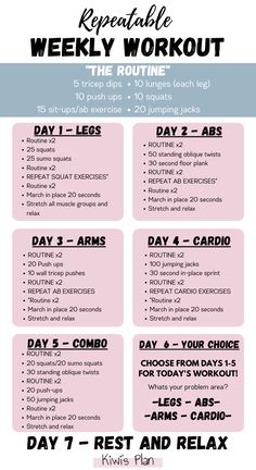 Weekly Workout Plans, At Home Workout Plan, At Home Workouts, Easy Workouts, Weekly Exercise Plan, Best Home Workout Program, Weekly Workouts, Workout Plan For Women, Workout Programs
