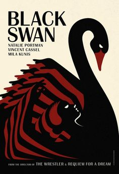 This re-imagined movie poster for the film Black Swan draws heavily from art deco influences. Note the strong use of colour, the geometric pattern of the raised arms forming the wings of the swan, the contrasting swoop of the animal's neck and the elegantly understated type face.-Juleit Pena