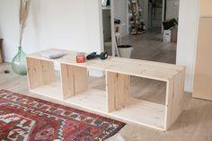 Tv Bench, Diy Tv, Loft, Inspiration, Furniture, Buffet, Home Decor, White Living Room Furniture, Homemade Furniture