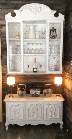 Painted white and fabulous… and yes please seperate hutch from buffet and gain counter space!!!!!!!