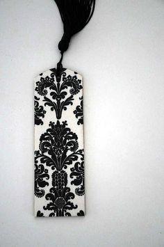 Fleur de lis pattern bookmark with black tassel by littlewoodtales