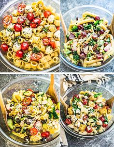Pasta Salad 4 Ways are perfect for your next summer cookout, potluck or party. Best of all, these classic favorites are easy to customize & sure to be a hit
