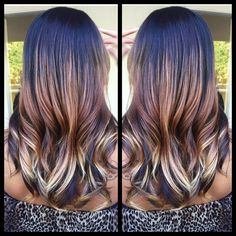 ombre hair with a layered cut.