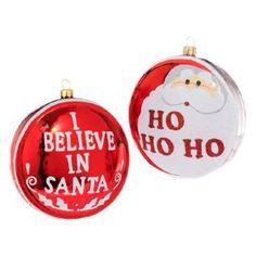 """RAZ Imports - Santa Claus Red & White Glass Disc Ornaments 4"""""""