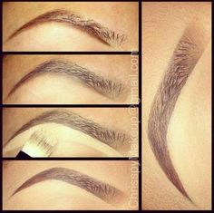 drugstoreprincess:      chrisspymakeup:    1.) I start by underlining my brows with MAC Fluidline in Dipdown, which is a gel liner, but you can use a brow pencil for this step too! 2.) Next, I shade lower half with a medium brown brow powder then fill in the rest with a lighter brown shading towards the front 3.) Then I use a flat brush and concealer to carve out the shape of the brow 4.) Make sure you blend it in with your foundation! You can also set it with a translucent powder if your…