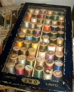 Spools of thread...reminds me of my Mom's collection- at the ready to make something wonderful for us!