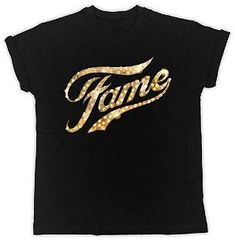Fame Glittery Gold Lights Logo T-shirt for Adults 80s Dress, Dress Up, Best 80s Costumes, Ladies Fancy Dress, Lights, Logo, Music, Mens Tops, T Shirt