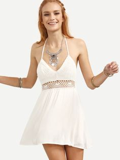 White+Halter+Neck+Backless+Hollow+Out+A-Line+Dress+17.99