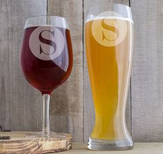 Single Initial XL Beer & Wine Glass Set - Personalized