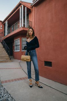 Le Fashion Blog Aimee Song Updated Winter Classics Bell Sleeve Sweater Dark Wash Cropped Jeans Chanel Bag Embellished Luxury Mules Via Song Of Style