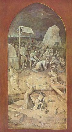 Hieronymus Bosch, L'Arrestation du Christ à Gethsemani (aile extérieure gauche), grisaille sur bois, 131-53 cm